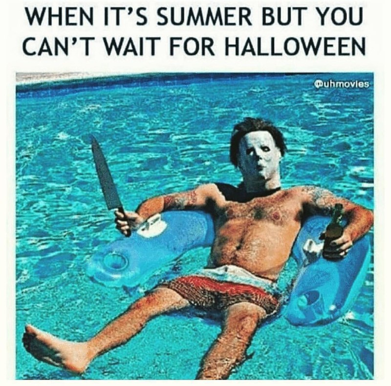spooky meme about wearing a costume in a pool because you are excited about halloween