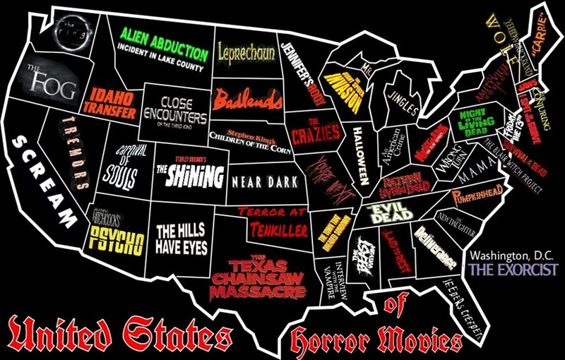 spooky meme about each state having a different horror movie associated with them
