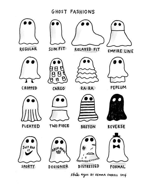 spooky meme about different styles of ghosts