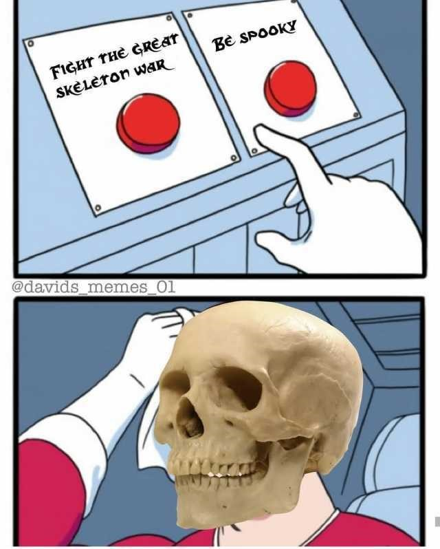 spooky meme about a skeleton choosing 2 paths
