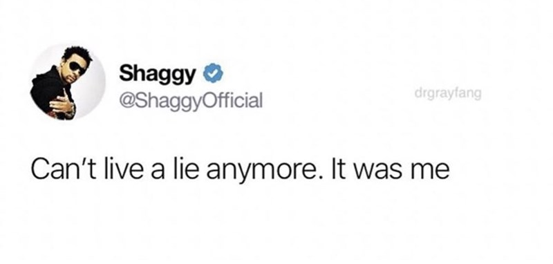 Text - Shaggy @ShaggyOfficial drgrayfang Can't live a lie anymore. It was me