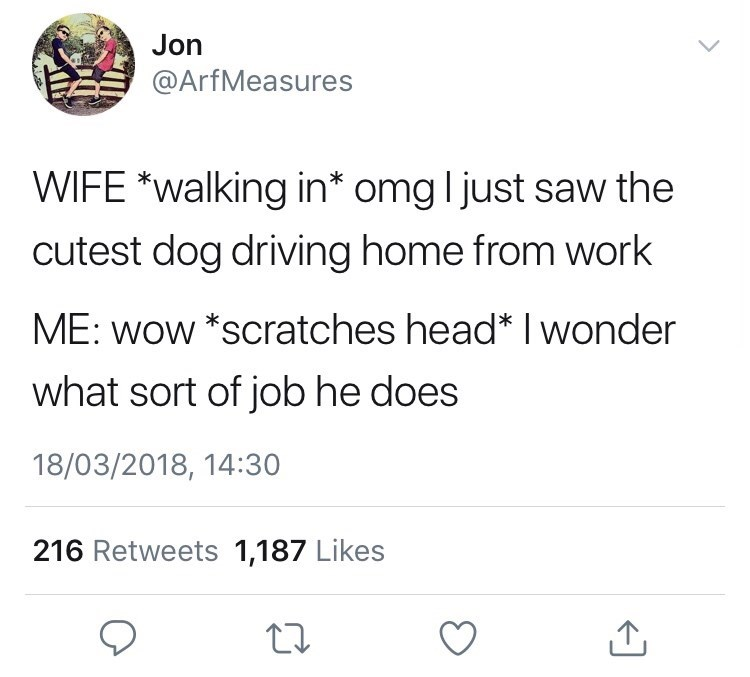 Text - Jon @ArfMeasures WIFE *Walking in* omg ljust saw the cutest dog driving home from work ME: wow *scratches head* I wonder what sort of job he does 18/03/2018, 14:30 216 Retweets 1,187 Likes