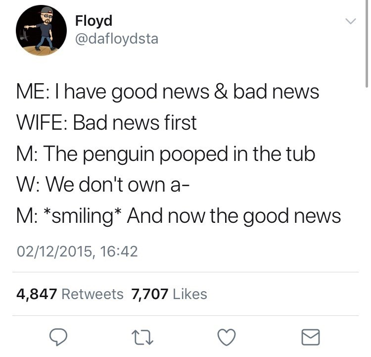 Text - Floyd @dafloydsta ME: I have good news & bad news WIFE: Bad news first M: The penguin pooped in the tub W: We don't own a- M: *smiling* And now the good news 02/12/2015, 16:42 4,847 Retweets 7,707 Likes