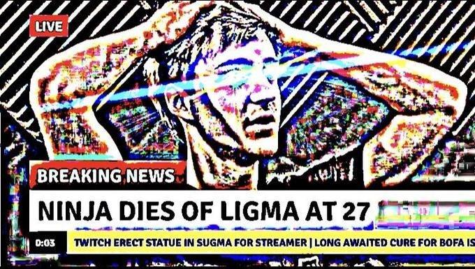 deep fried meme of ninja dies of Ligma at age 27
