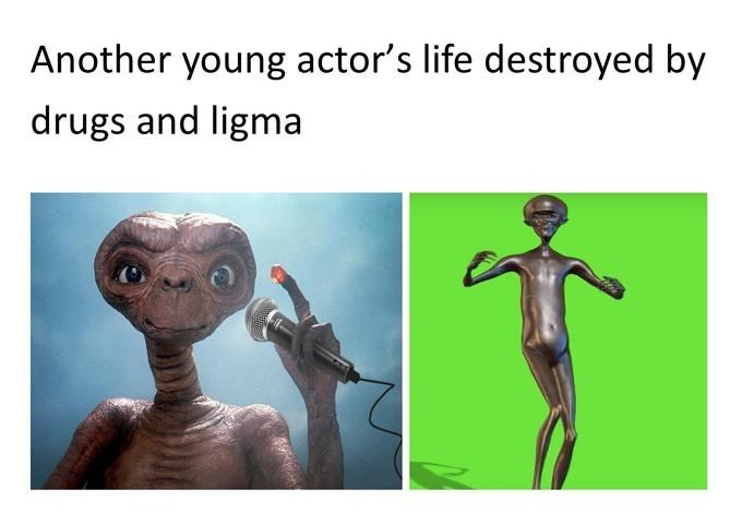 Dancing ET as a meme about another young actor's life destroyed by drugs and ligma