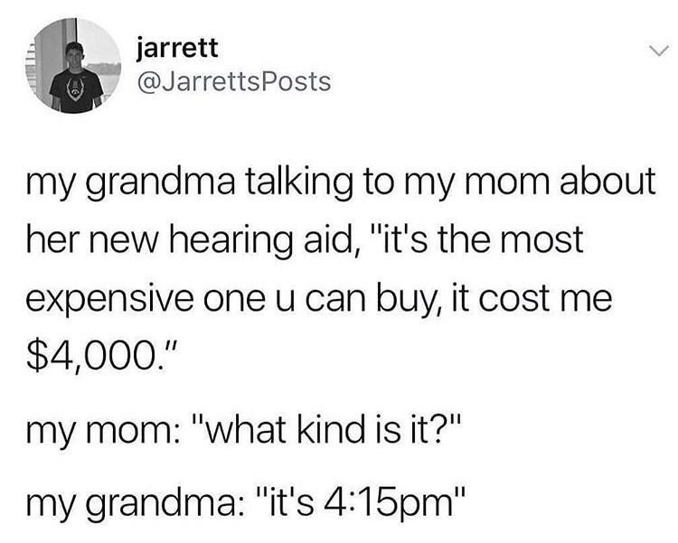 hearing aid joke in a tweet