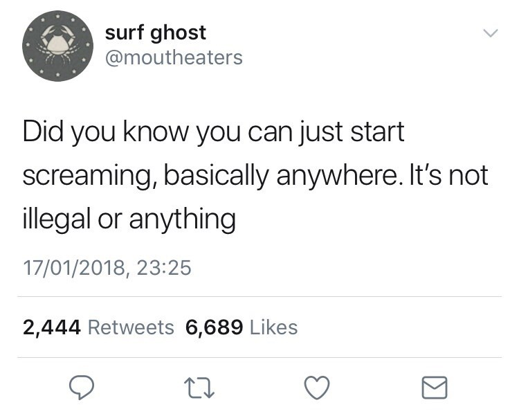 Text - surf ghost @moutheaters Did you know you can just start screaming, basically anywhere. It's not illegal or anything 17/01/2018, 23:25 2,444 Retweets 6,689 Likes