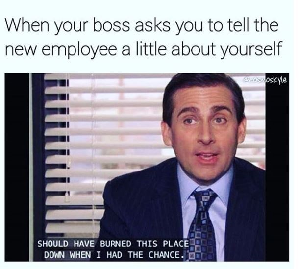 work meme about introducing yourself to new employees