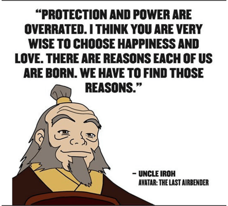 "Cartoon - ""PROTECTION AND POWER ARE OVERRATED. I THINK YOU ARE VERY WISE TO CHOOSE HAPPINESS AND LOVE. THERE ARE REASONS EACH OF US ARE BORN. WE HAVE TO FIND THOSE REASONS."" UNCLE IROH AVATAR: THE LAST AIRBENDER"