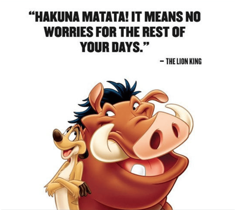 "Cartoon - ""HAKUNA MATATA! IT MEANS NO WORRIES FOR THE REST OF YOUR DAYS."" -THE LION KING"