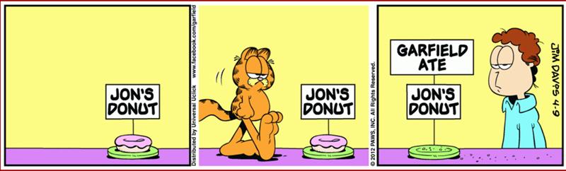 Cartoon - GARFIELD ATE JON'S DONUT JON'S DONUT JON'S DONUT Co.