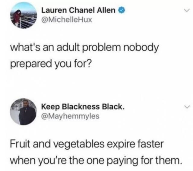 Text - Lauren Chanel Allen @MichelleHux what's an adult problem nobody prepared you for? Keep Blackness Black. @Mayhemmyles Fruit and vegetables expire faster when you're the one paying for them.