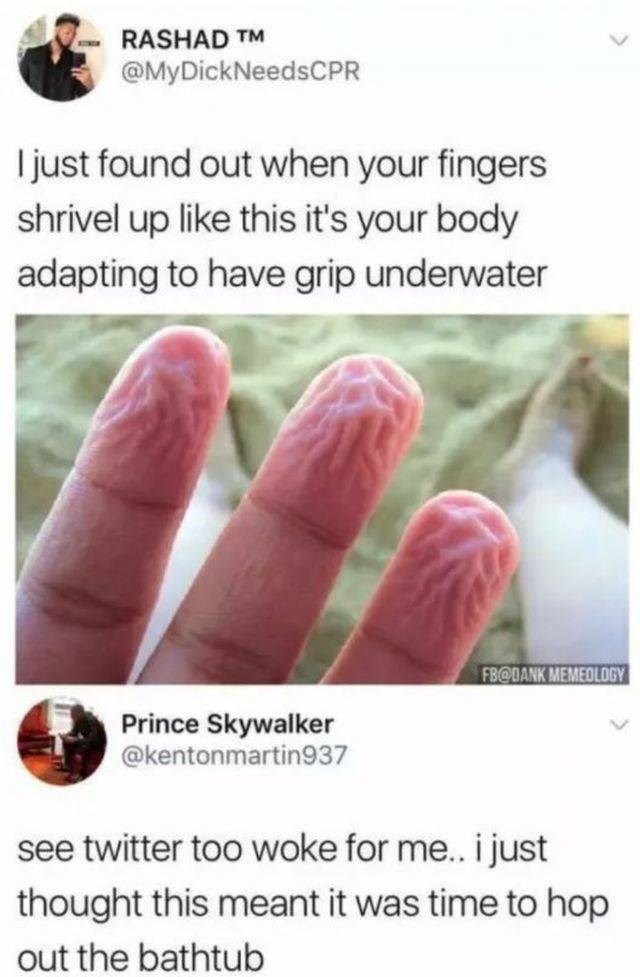 Finger - RASHAD TM @MyDickNeedsCPR I just found out when your fingers shrivel up like this it's your body adapting to have grip underwater FB@DANK MEMEOLOGY Prince Skywalker @kentonmartin937 see twitter too woke for me.. i just thought this meant it was time to hop out the bathtub