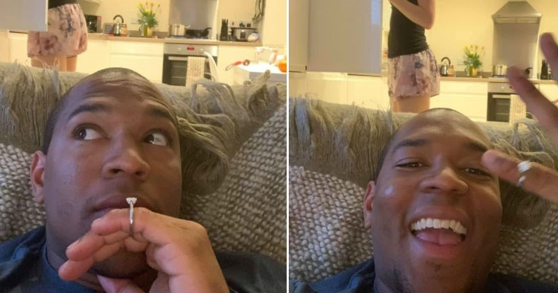 Boyfriend photobombs his girlfriend with engagement ring pictures, without her knowing about it.