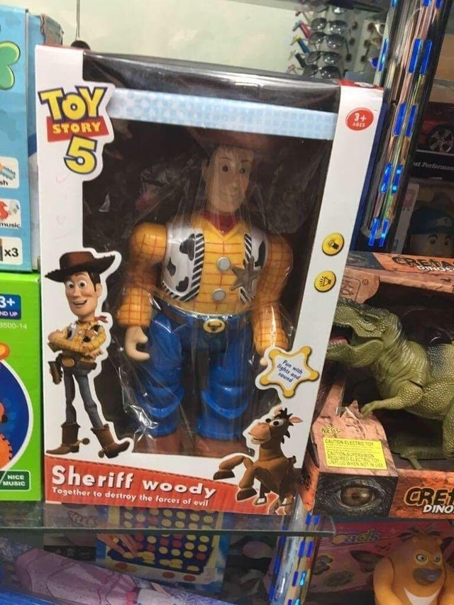 Toy - 3+ TOY AGES STORY st Prforman sh CRED music x3 3+ ND UP a500-14 Fun with lights and ound ASES3 CAUTION ELECTRIC TO ORESLE UNPLUG WHEN NOTNUS CRE Sheriff woody DINO NICE MUSIC Together to destroy the forces of evil