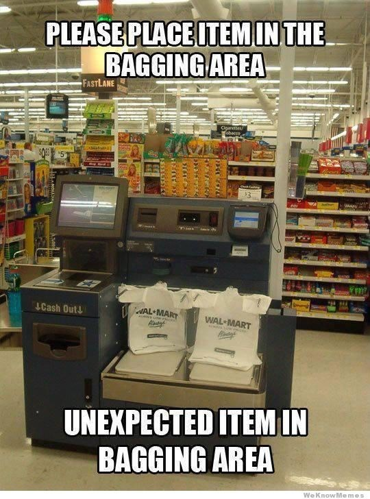 "Picture of a self-checkout stand with the caption, ""Please place item in the bagging area, unexpected item in bagging area"""