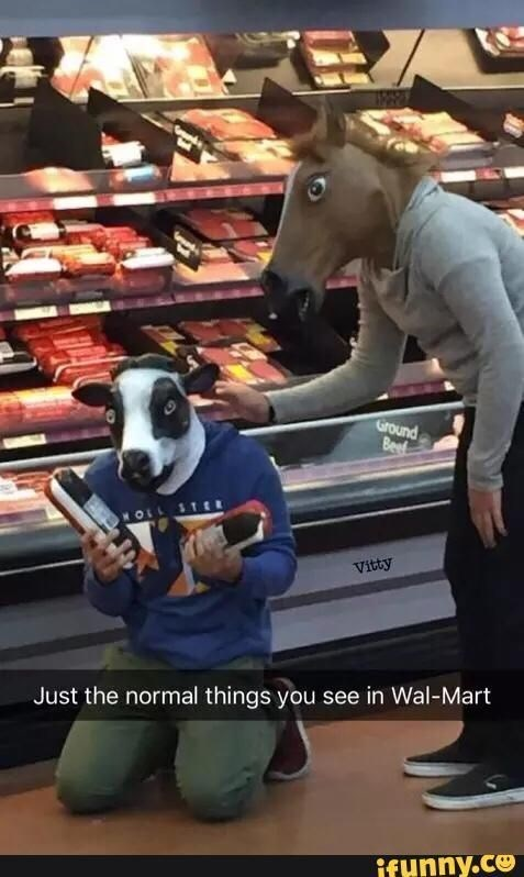 Walmart Meme - Fictional character - Ground Bee HOLL STE K Vitty Just the normal things you see in Wal-Mart if unny.ce