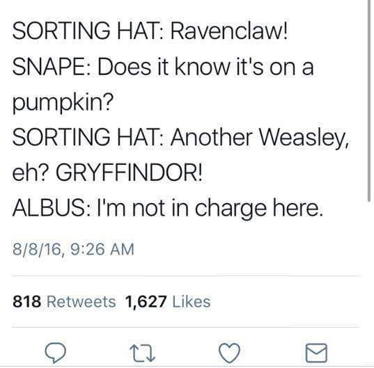 Text - SORTING HAT: Ravenclaw! SNAPE: Does it know it's on a pumpkin? SORTING HAT: Another Weasley, eh? GRYFFINDOR! ALBUS: I'm not in charge here. 8/8/16, 9:26 AM 818 Retweets 1,627 Likes