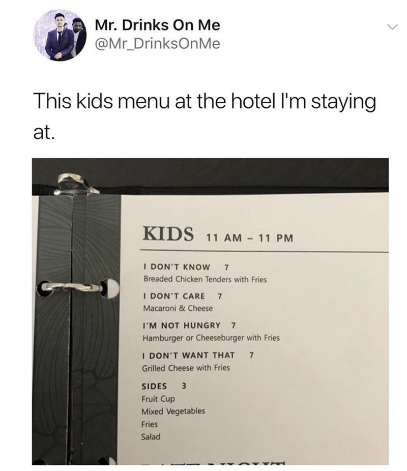 Pic of a kids' menu with options like 'I'm not hungry' and 'I don't want that'