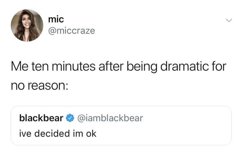 "Tweet that reads, ""Me ten minutes after being dramatic for no reason: 'I've decided I'm okay'"""