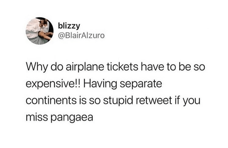 Text - blizzy @BlairAlzuro Why do airplane tickets have to be so expensive! Having separate continents is so stupid retweet if you miss pangaea