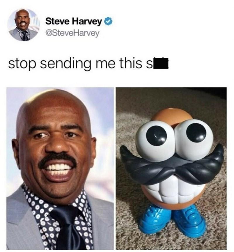 Pic of Steve Harvey next to Mr. Potato Head, looking eerily similar