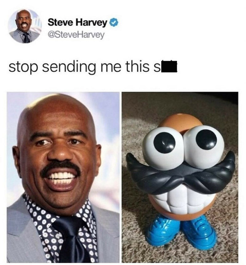 Pic of Steve Harvey next to Mr. Potato Head, looking eerily similar