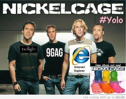nickelback meme - T-shirt - NICKELCAGE #Yolo twilight 9GAG New album out now! Internet NICKELCAGE Explorer Bidberever Like sucking dick? go to 96AB.cOM