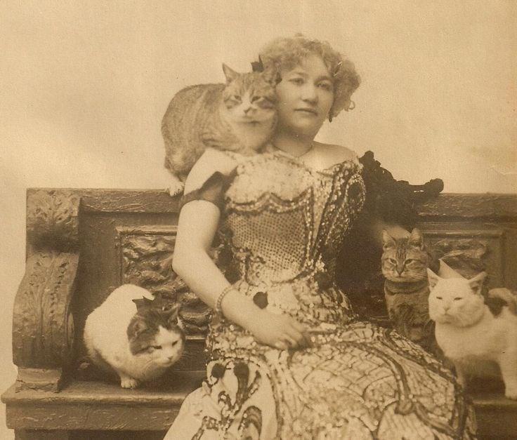 cute cat vintage - Lady