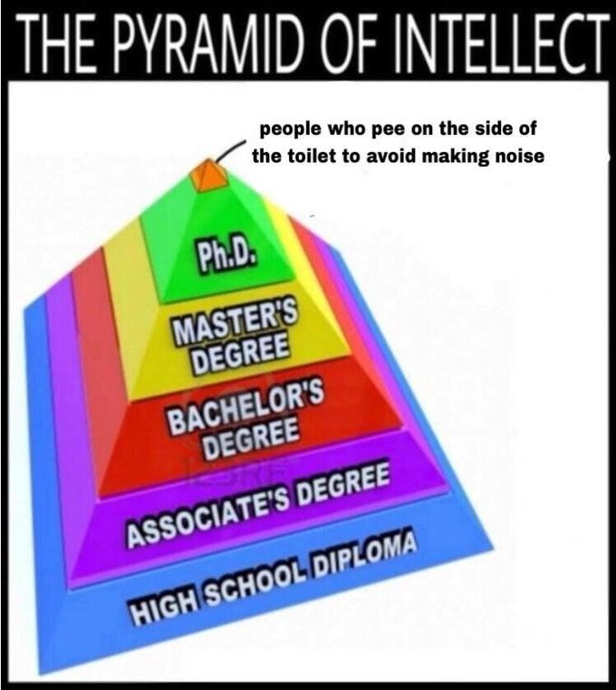 Pyramid of Intellect, which features the top portion as 'People who pee on the side of the toilet to avoid making noise'