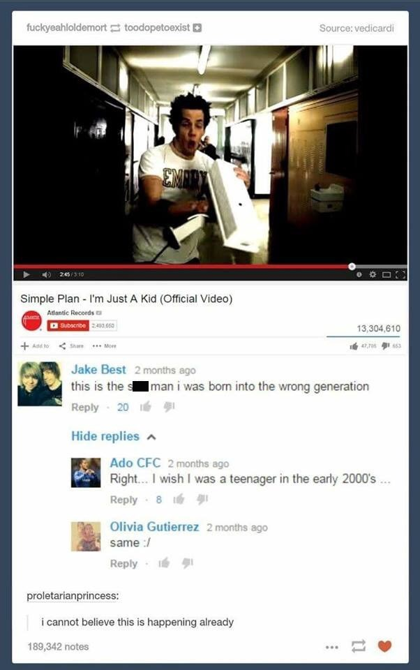 Screenshot of a Simple Plan music video on YouTube where people are commenting that they were 'born in the wrong generation'