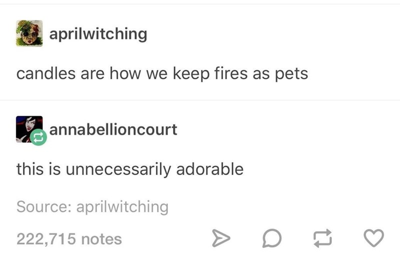 Wednesday meme Tumblr thread about candles being a way to tame fire as a pet