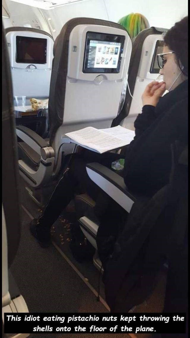 Vehicle - This idiot eating pistachio nuts kept throwing the shells onto the floor of the plane.