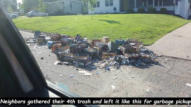 Waste - Neighbors gathered their 4th trash and left it like this for garbage pickup
