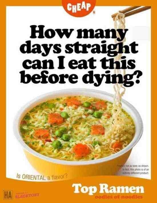 Wednesday meme of an Ad for ramen noodles wondering how long you can survive on them for