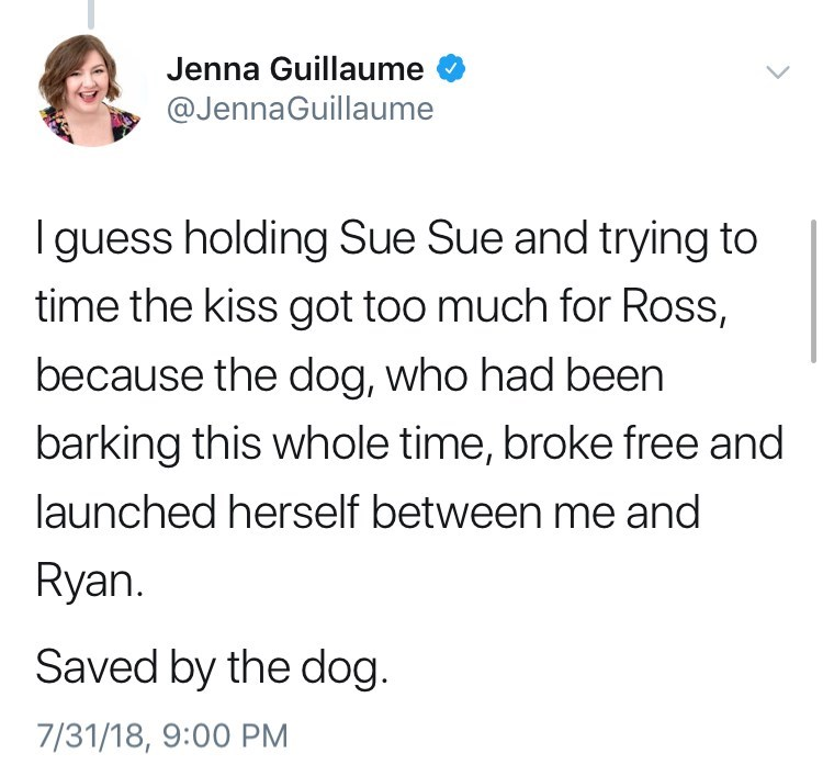 Text - Jenna Guillaume @JennaGuillaume Iguess holding Sue Sue and trying to time the kiss got too much for Ross, because the dog, who had been barking this whole time, broke free and launched herself between me and Ryan Saved by the dog. 7/31/18, 9:00 PM