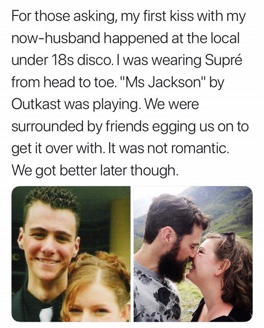 """Facial expression - For those asking, my first kiss with my now-husband happened at the local under 18s disco. I was wearing Supré from head to toe. """"Ms Jackson"""" by Outkast was playing. We were surrounded by friends egging us on to get it over with. It was not romantic We got better later though C"""