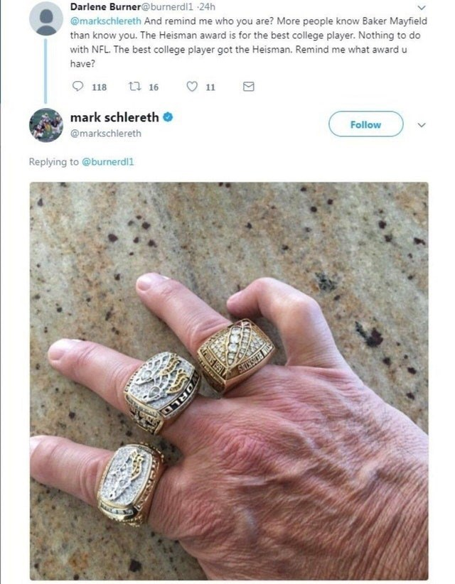 post about someone calling out a guy on not knowing theNFL they guy responds with wearing three Superbowl rings