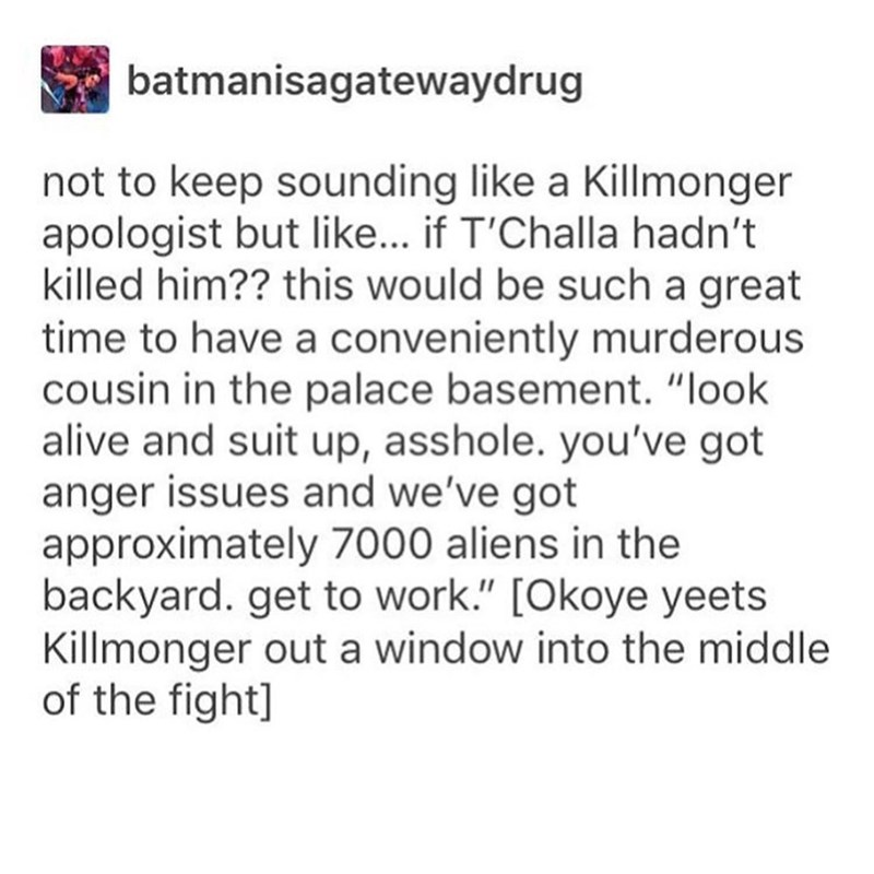 "Text - batmanisagatewaydrug not to keep sounding like a Killmonger apologist but like... if T'Challa hadn't killed him?? this would be such a great time to have a conveniently murderous cousin in the palace basement. ""look alive and suit up, asshole. you've got anger issues and we've got approximately 7000 aliens in the backyard. get to work."" [Okoye yeets Killmonger out a window into the middle of the fight]"