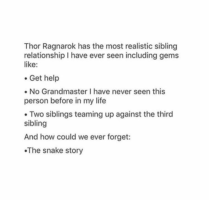 Text - Thor Ragnarok has the most realistic sibling relationship I have ever seen including gems like: Get help No Grandmaster I have never seen this person before in my life Two siblings teaming up against the third sibling And how could we ever forget: The snake story