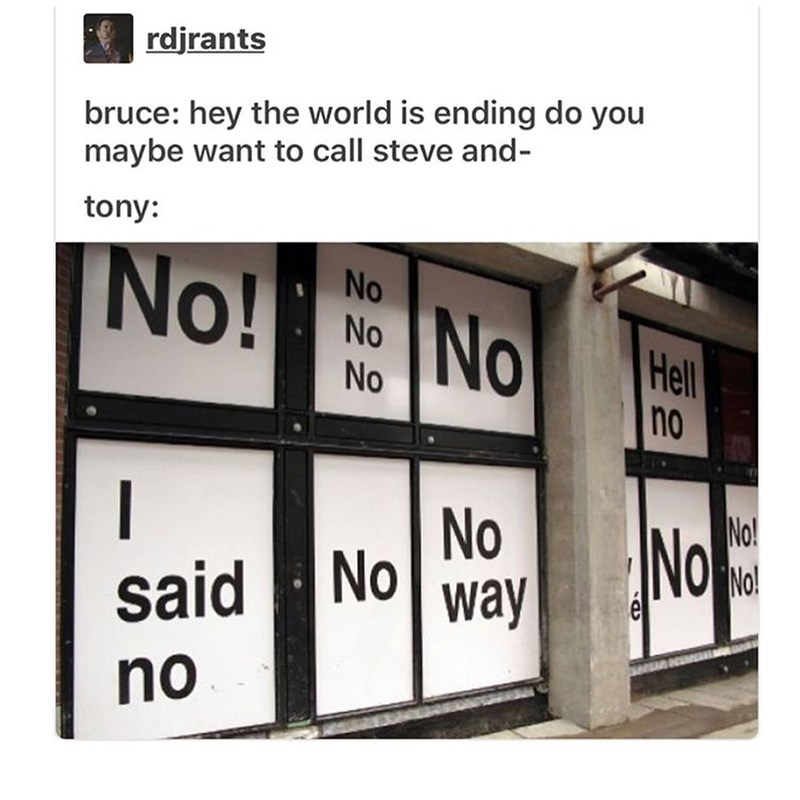 Text - rdjrants bruce: hey the world is ending do you maybe want to call steve and- tony: No!No Hell no No! No! No No said way no NO