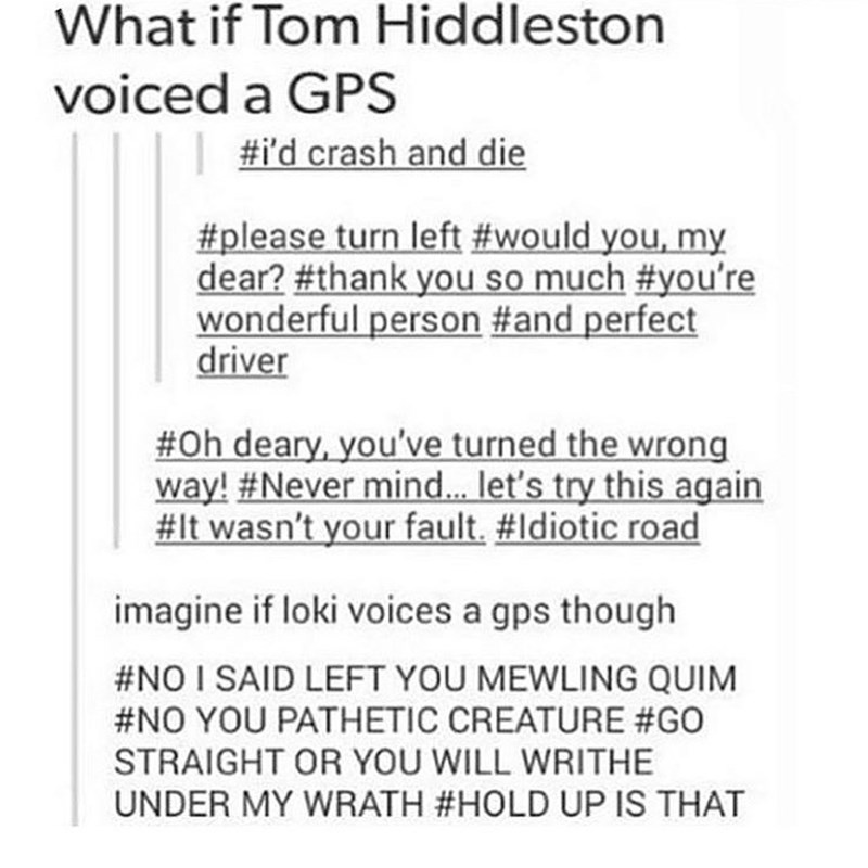 Text - What if Tom Hiddleston voiced a GPS #i'd crash and die #please turn left #would you, my dear? #thank you so much #you're wonderful person #and perfect driver #Oh deary, you've turned the wrong way! #Never mind.. let's try this again #It wasn't your fault. #Idiotic road imagine if loki voices a gps though #NO I SAID LEFT YOU MEWLING QUIM #NO YOU PATHETIC CREATURE #GO STRAIGHT OR YOU WILL WRITHE UNDER MY WRATH #HOLD UP IS THAT