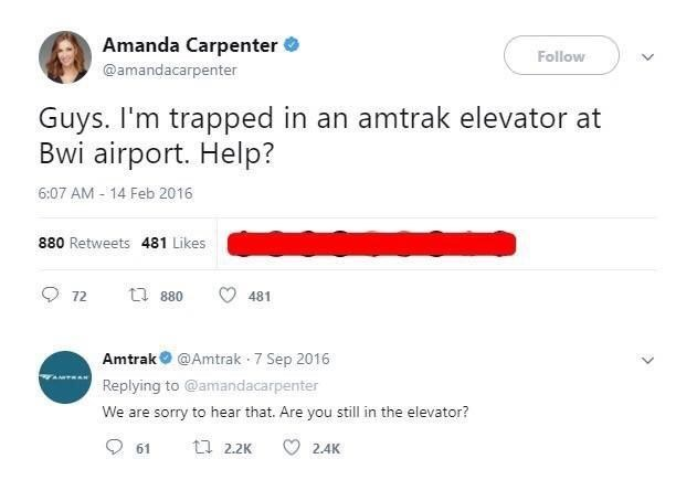 tweet post about a woman stuck in an Amtrak elevator and Amtrak responds to her tweet