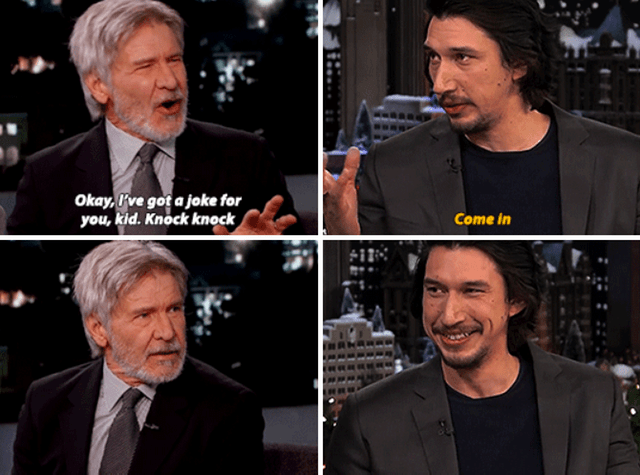 "meme of Harrison ford and Adam driver, Harrison asks a knock knock joke and driver responds ""come in"""