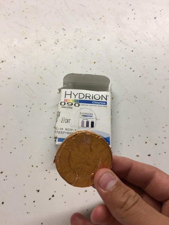 meme about chlorine tester that looks like a chocolate covered coin