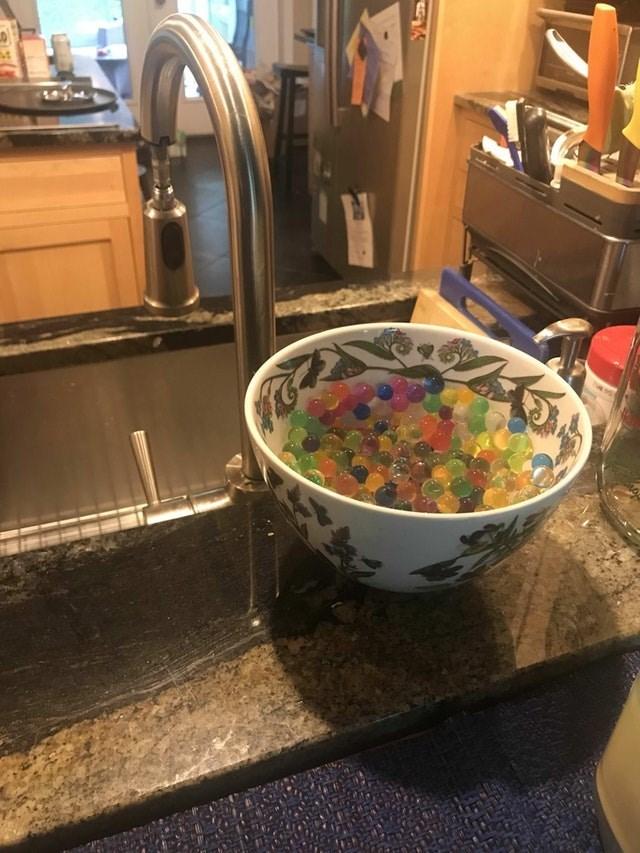 meme image of plastic colorful balls that looks like gummies