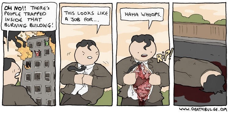 Wednesday hump day Comic about Superman accidentally tearing open his chest and dying