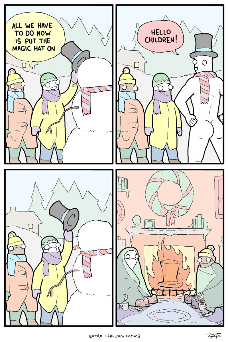 Wednesday hump day comic about a snowman becoming too real and traumatizing the children