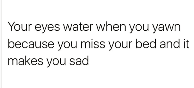 Meme about crying because you miss your bed
