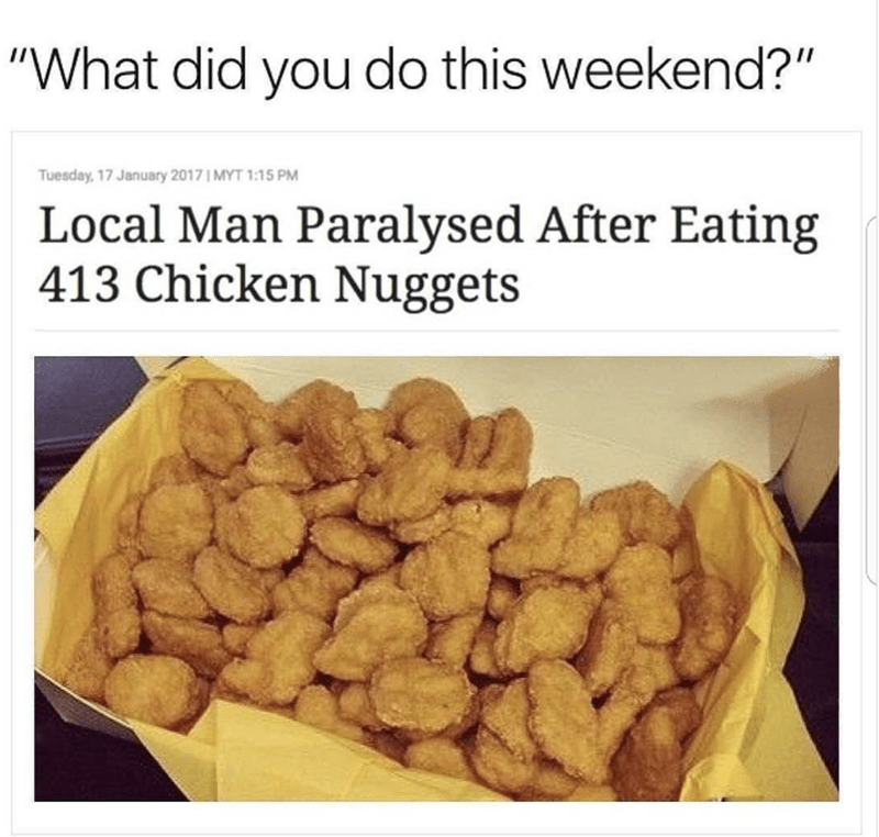 Headline about man who ate hundreds of chicken nuggets